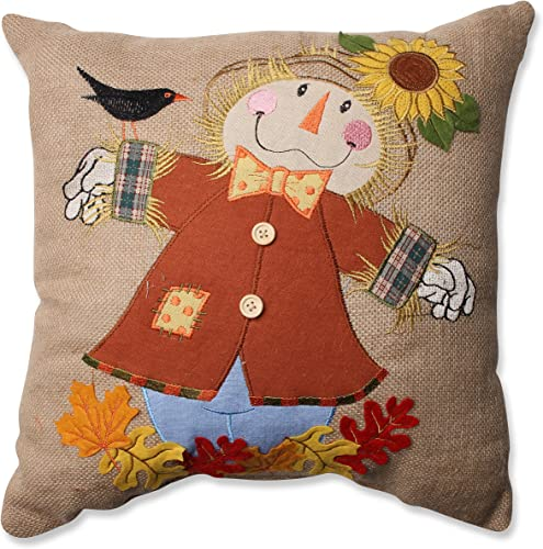 Pillow Perfect Harvest Scarecrow Burlap Throw Pillow, 16.5 x 16.5