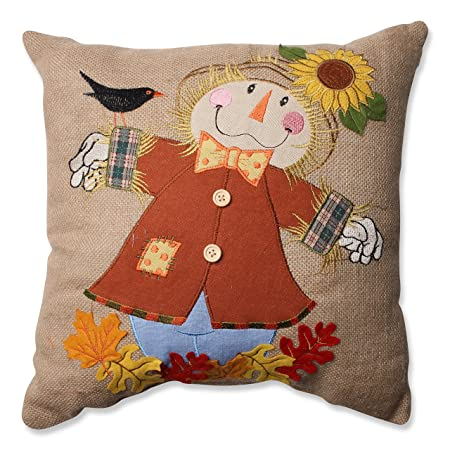 Pillow Perfect Harvest Scarecrow Burlap Throw Pillow, 16.5