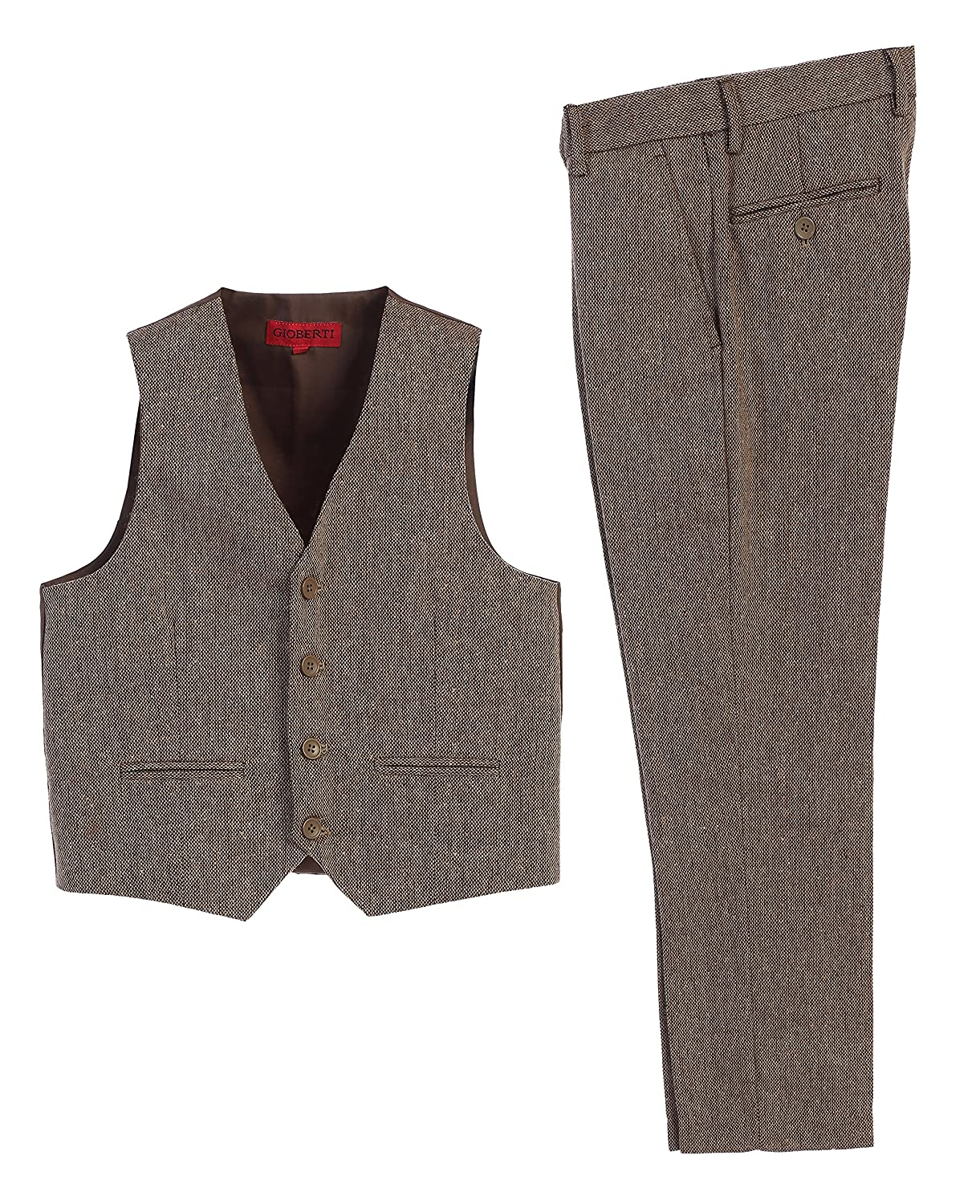 Steampunk Kids Costumes | Girl, Boy, Baby, Toddler  Boys 2 Piece Tweed Plaid Vest and Pants Set Gioberti $39.99 AT vintagedancer.com