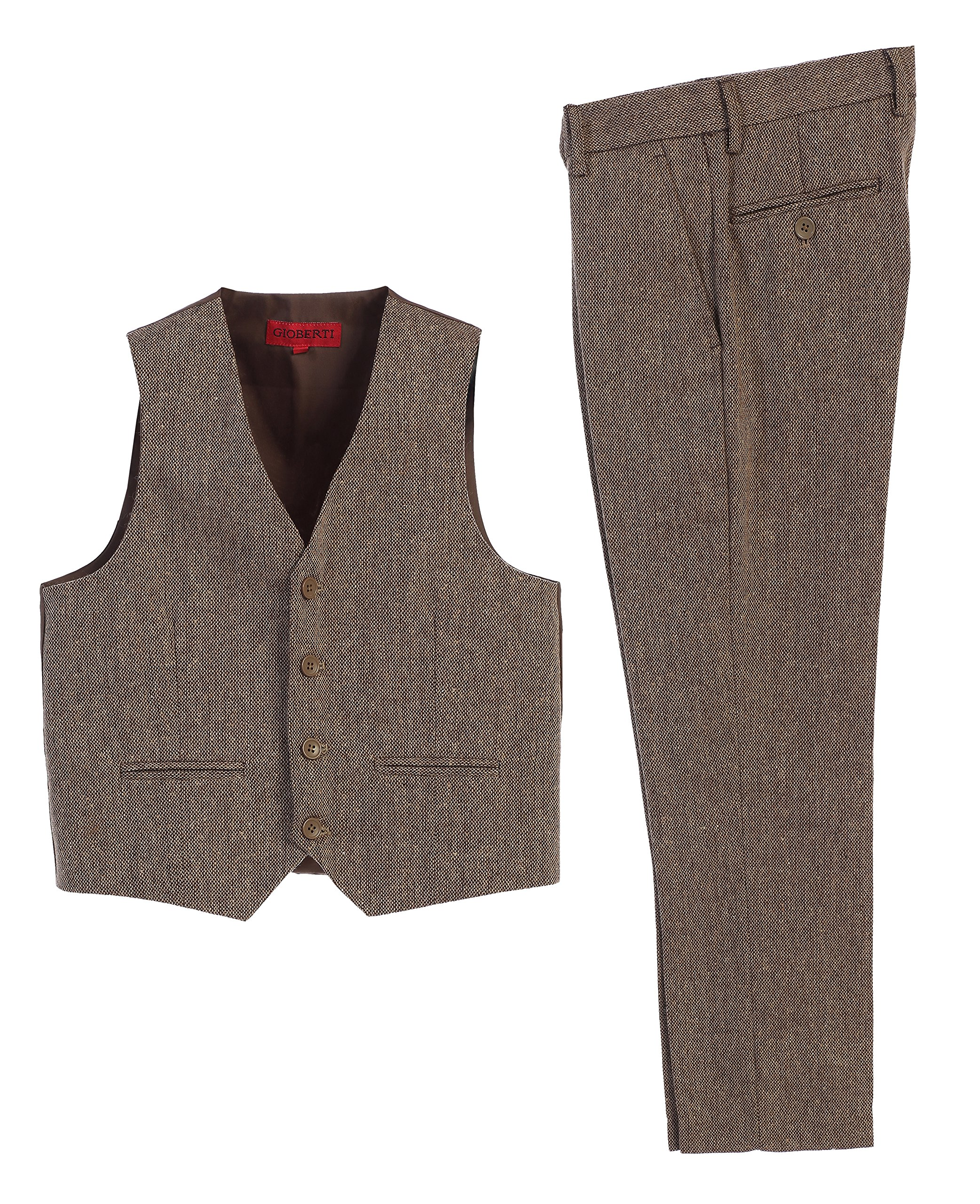 Gioberti Boy's 2 Piece Plaid Vest and Pants Set, Barleycorn Brown, Size 3T