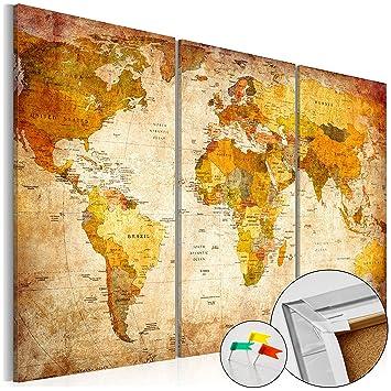 Weltkarte Mit Kork Rückwand 90x60 Cm U2013 Bild Auf Vlies Leinwand