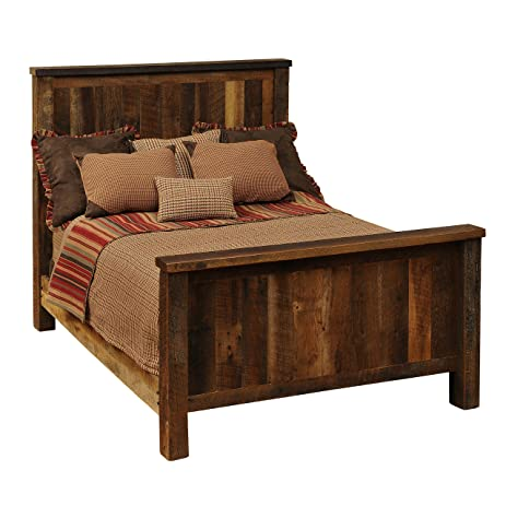 Good Fireside Lodge Furniture B10010 Barnwood Collection Handcrafted And Lacquer  Finished Real Barnwood Oak Complete Bed Frame