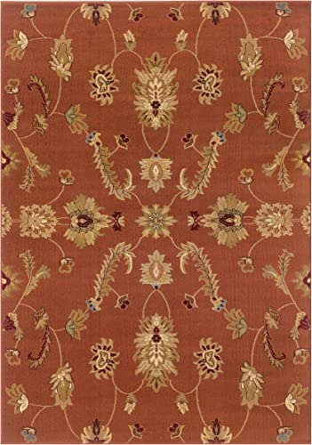 Trade AM Adana Floral Area Rug, 9-feet 2-inch by 12-feet 6-inch, Rust