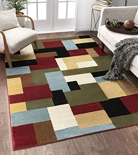 Imperial Mosaic Multicolor Geometric Modern Casual Area Rug 8×10 8×11 7'10″ x 9'10″ Easy to Clean Stain Fade Resistant Shed Free Abstract Contemporary Color Block Boxes Soft Living Dining Room Rug