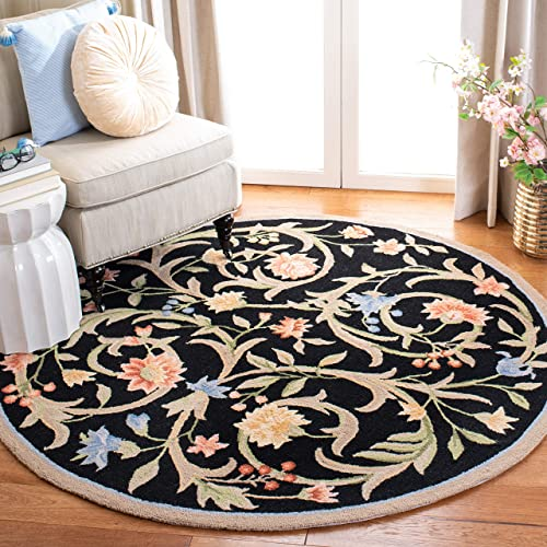 "Safavieh Chelsea Collection HK248B Hand-Hooked Black Premium Wool Round Area Rug 5'6"" Diameter"