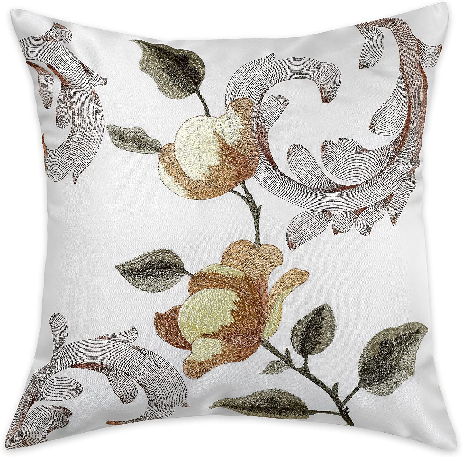 Amazon Com Violet Linen Royal Decorative Embroidered 18 X 18 Throw Pillow Gold Home Kitchen