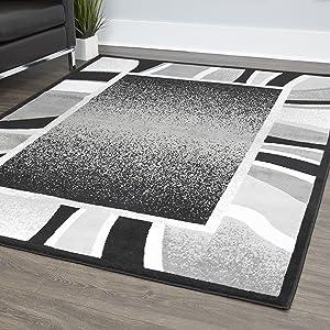 "Home Dynamix Lyndhurst Rotana Modern Area Rug, Contemporary Black/Gray 7'8""x10'7"""