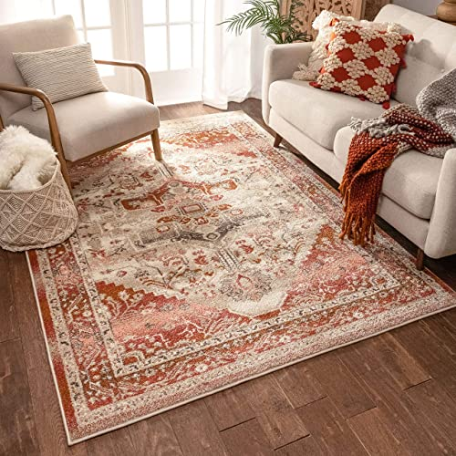 Well Woven Occhio Vintage Medallion Blush Pink Area Rug 8×11 7'10″ x 10'6″ Soft Plush Modern Tribal Carpet