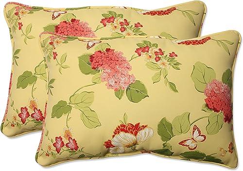 Pillow Perfect Outdoor Indoor Risa Lemonade Oversized Lumbar Pillows, 24.5 x 16.5 , Gold, 2 Pack