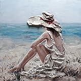 BUBOLA quadro beige dipinto a mano spiaggia mare donna in rilievo tela quadrata DIPIW626 80x80