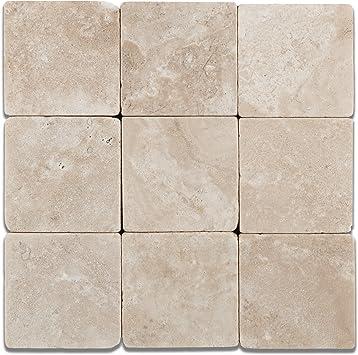 Tumbled Walnut Travertine 4 X 4 Field Tile 4-pcs Sample Set