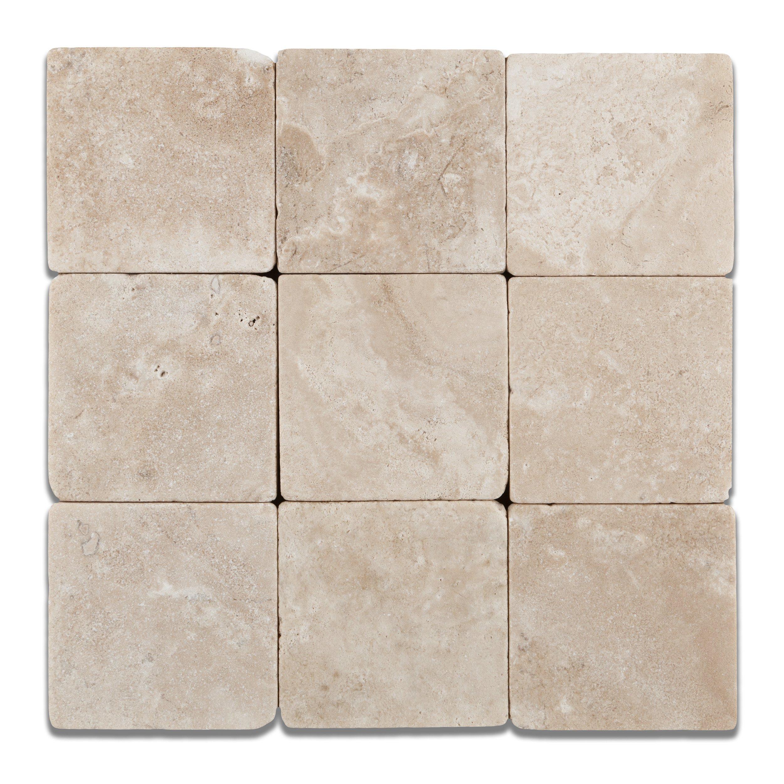 Durango Cream (Paredon) Travertine 4 X 4 Field Tile, Tumbled - 4-pcs. Sample Set