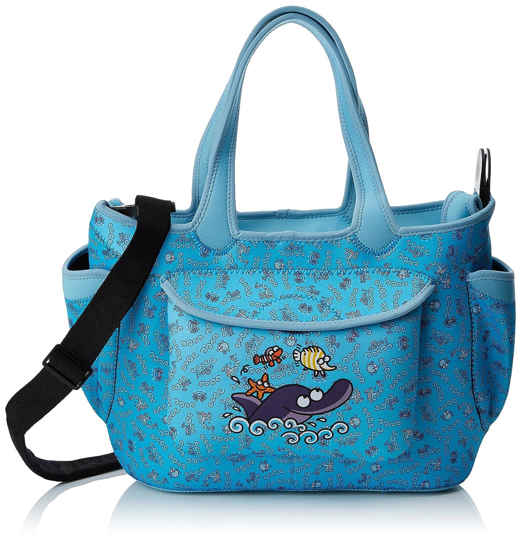 Kukuxumusu Organising Neoprene Maternity Bag - Adjustable to Your pram. Dolphin Blue