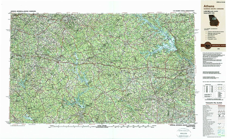 Map Of Georgia Athens.Amazon Com Yellowmaps Athens Ga Topo Map 1 250000 Scale 1 X 2