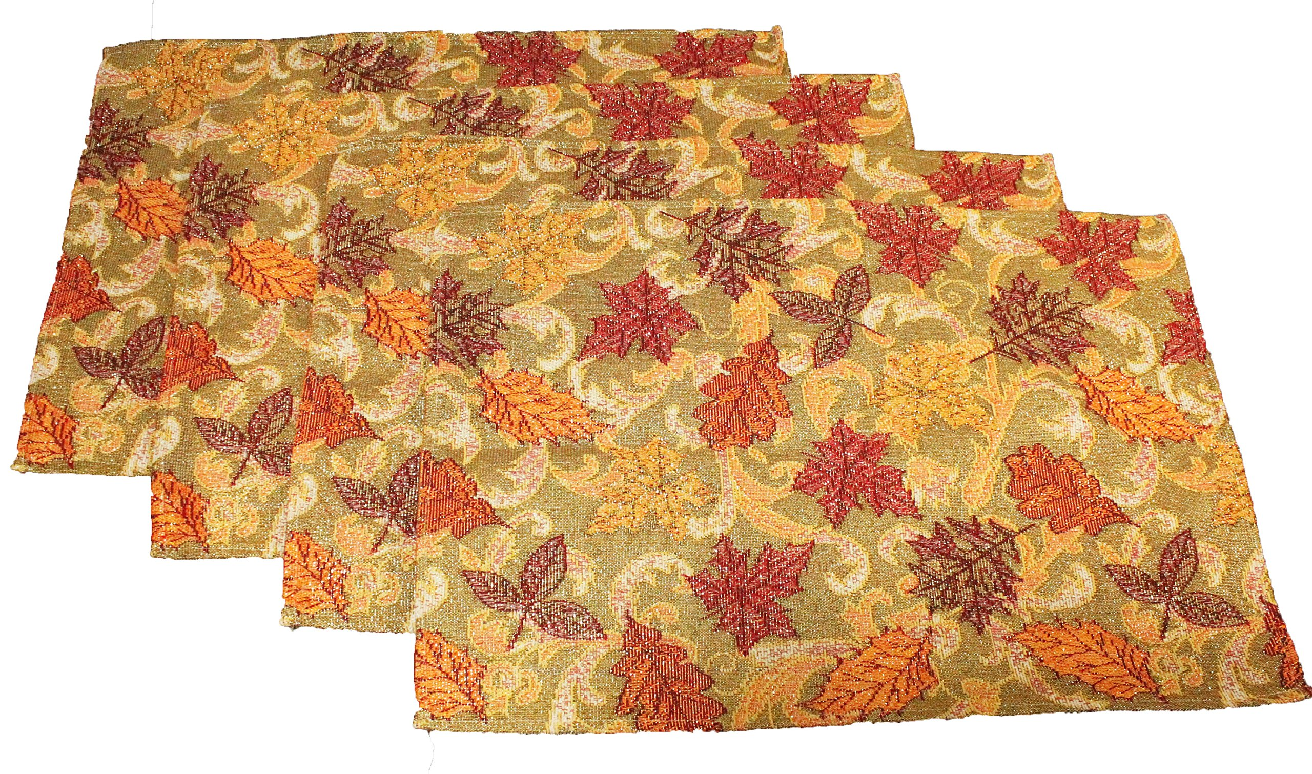 Twisted Anchor Trading Co Set of 4 Fall Leaves Placemats Golden Harvest - Sparkly Gold Thread Tapestry Style Autumn Home Decor Set