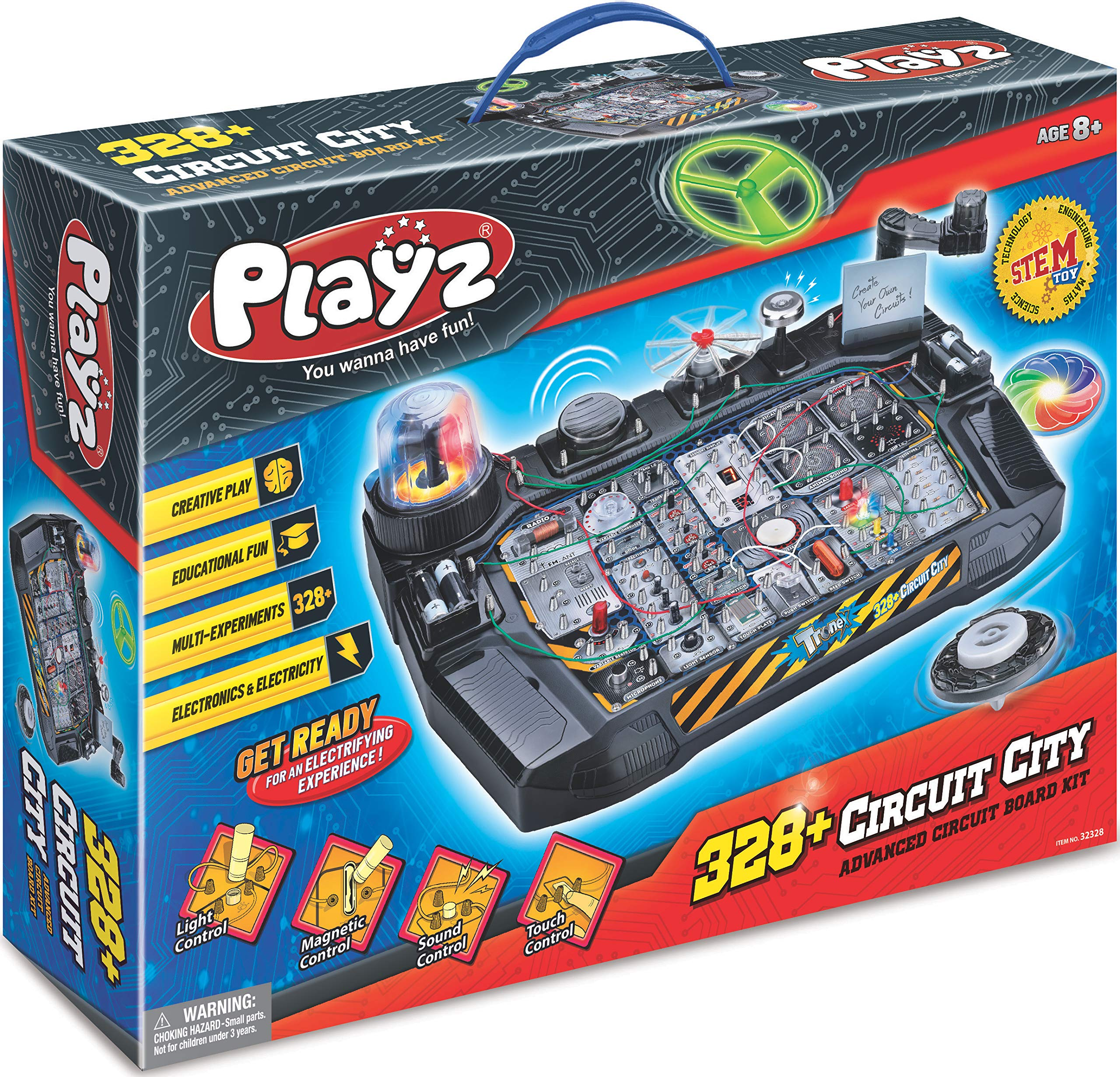 Playz Advanced Electronic Circuit Board Engineering Toy for Kids | 328+ Educational Experiments to Wire & Build Smart Connections Using Creative Knowledge of Electricity | Science Gift for Children by Playz