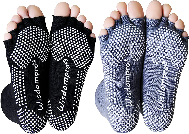 Wisdompro 2 Pairs Toeless Half Toe Yoga Socks with Anti Slip Grip for Women & Men : Clothing