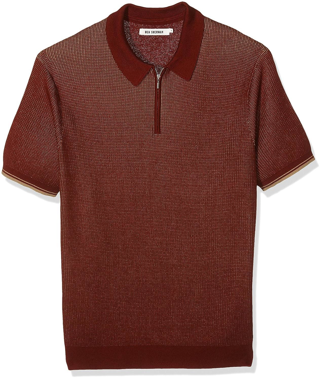 Ben Sherman Herren Poloshirt Tonic Zip
