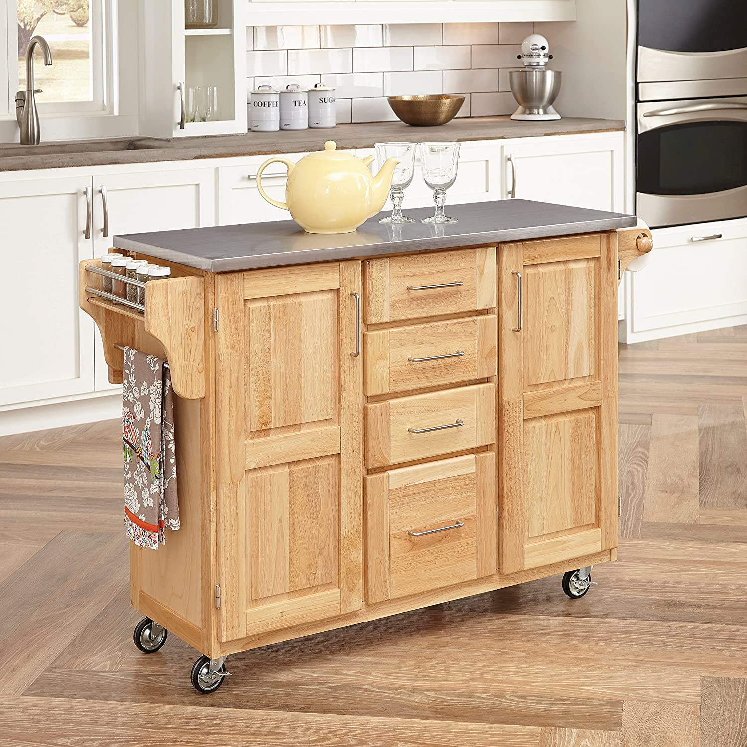 Amazon.com   Home Styles 5086 95 Stainless Steel Top Kitchen Cart With  Breakfast Bar, Natural Finish   Bar U0026 Serving Carts