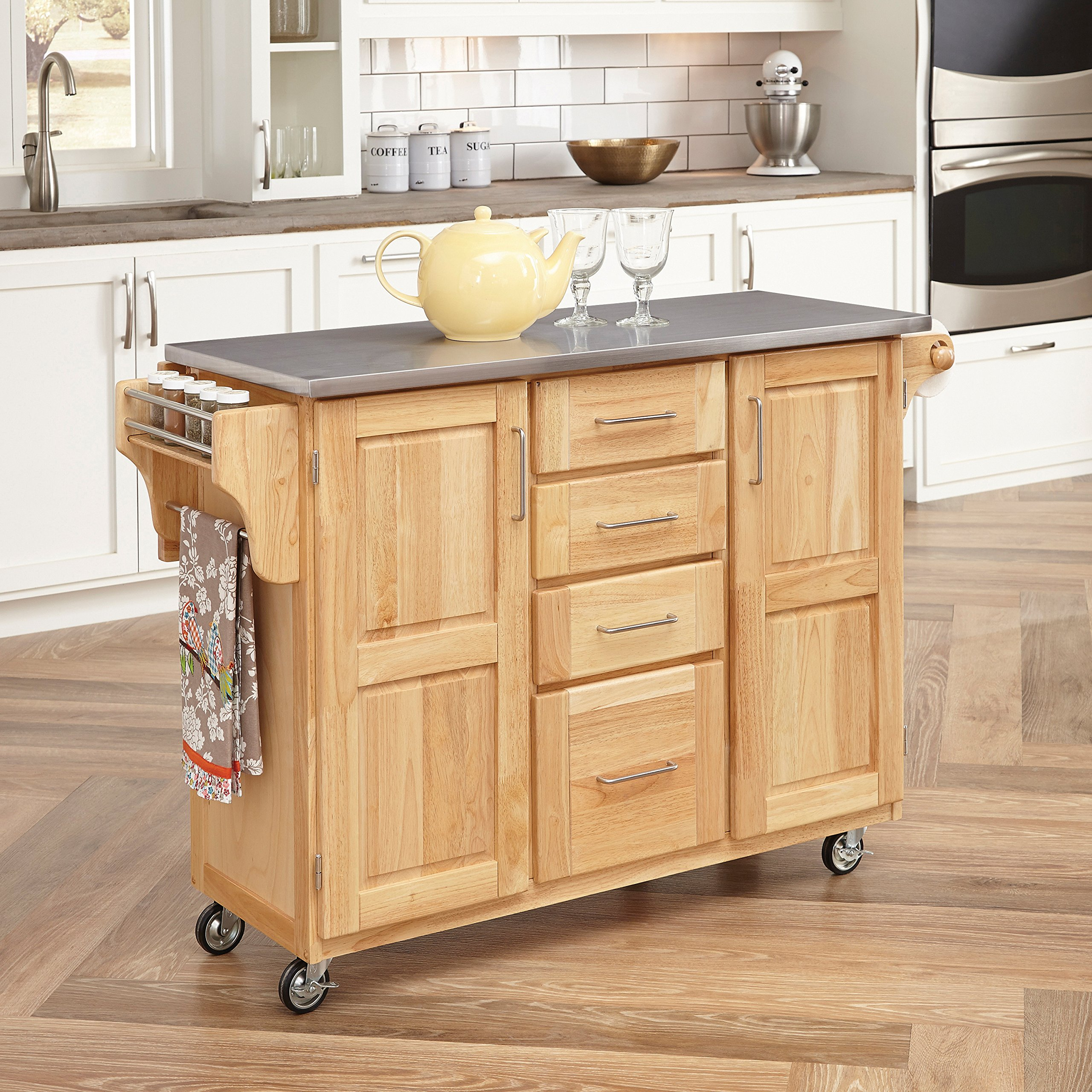 Kitchen Cart with Breakfast bar & Stainless Steel Top by Home Styles by Home Styles