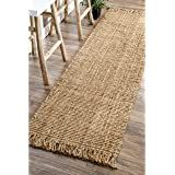 """nuLOOM Hand Woven Chunky Natural Jute Farmhouse Runner Rug, 2' 6"""" x 10', Natural"""