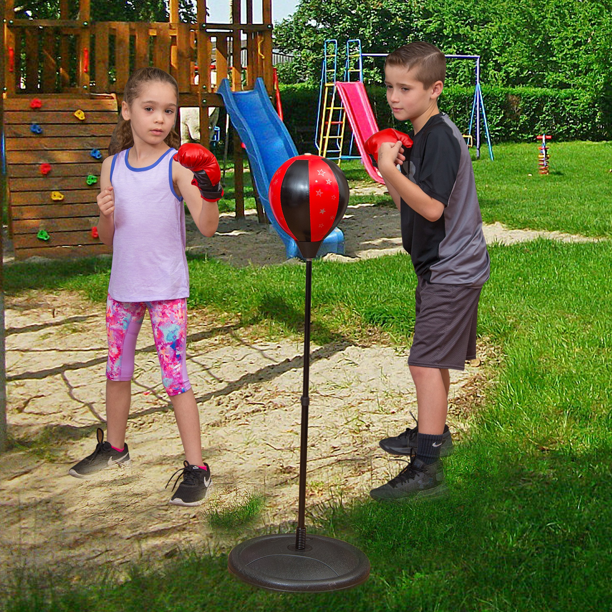 ToyVelt Sport Boxing Set: Boxing Punching Ball + Boxing Gloves Kit to Teach Kids Confidence, Balance & Hand-Eye Coordination | Height Adjustable Base, Easy Setup & Portable Design | Top Gifting Idea by ToyVelt