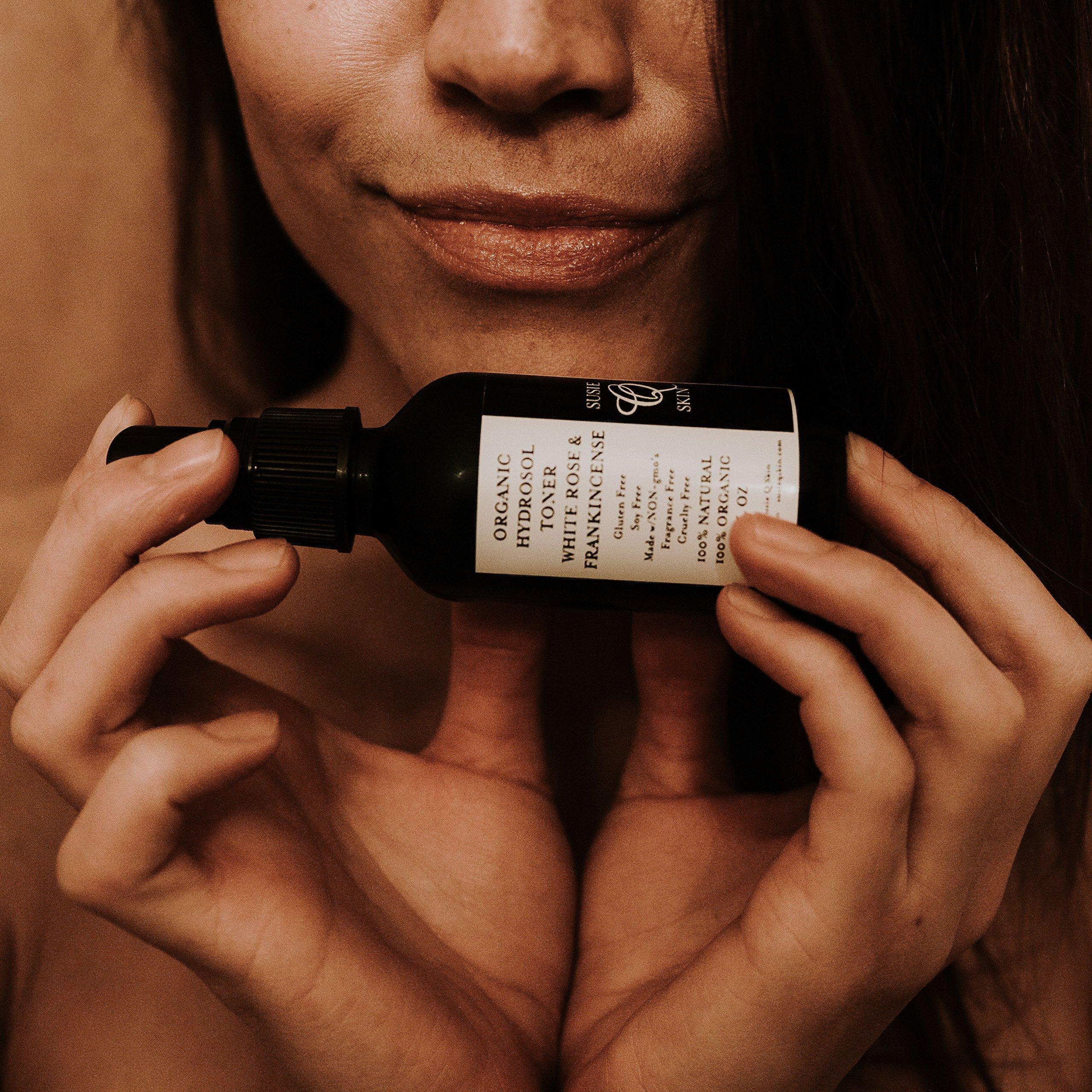White Rose Frankincense Organic Hydrosol Toner, 2oz, Rose Distillate, Healing Frankincense, Tighten and Tone Pores, Balance pH, Replenish Moisture