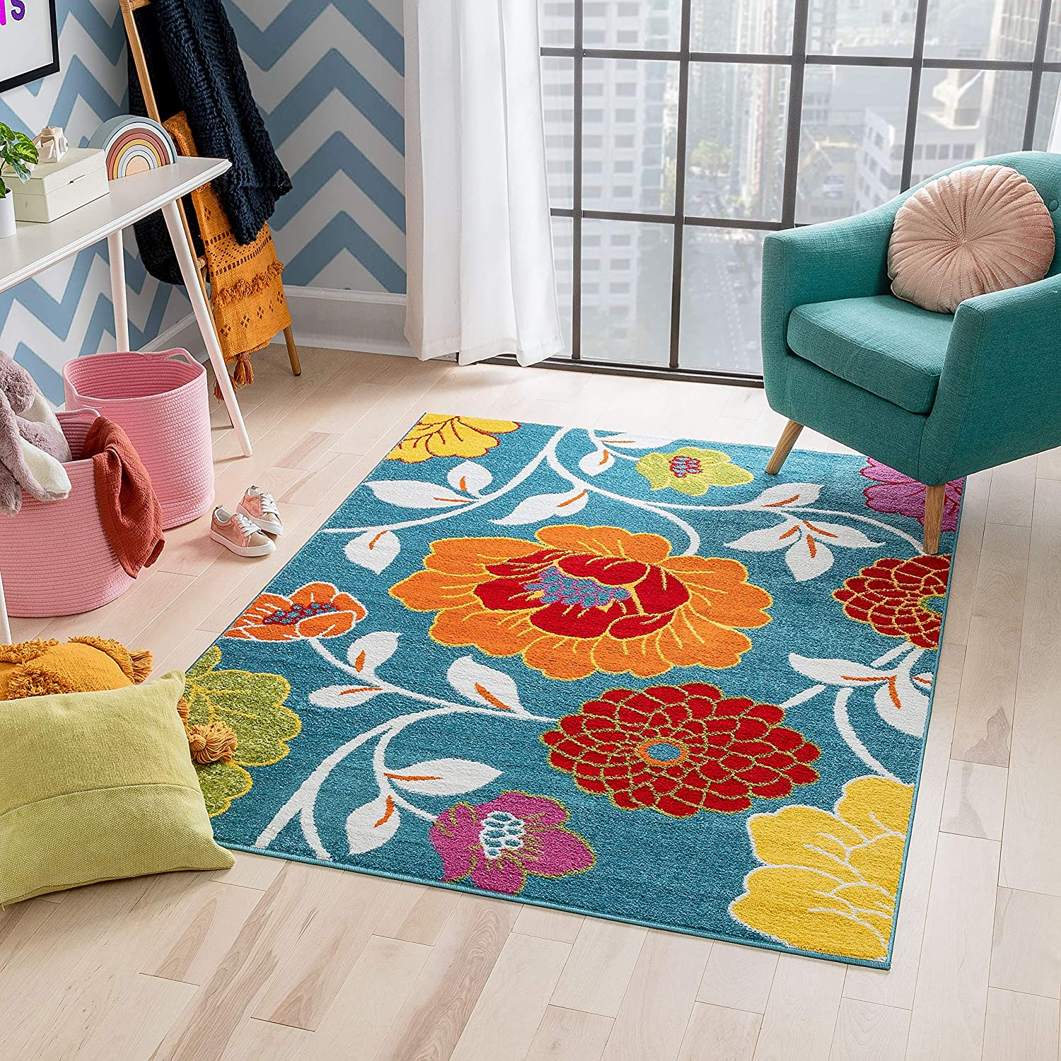 Well Woven Modern Rug Daisy Flowers Blue 3 3 X 5 Floral Accent Area Rug Entry Way Bright Kids Room Kitchen Bedroom Carpet Bathroom Soft Durable Area Rug Furniture Decor