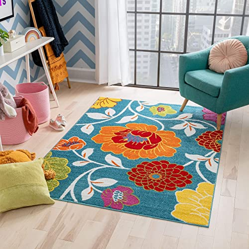 Well Woven Modern Rug Daisy Flowers Blue 5'X7' Floral Accent Area Rug Entry Way Bright Kids Room Kitchen Bedroom Carpet Bathroom Soft Durable Area Rug