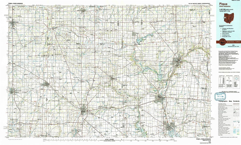 Amazon Com Yellowmaps Piqua Oh Topo Map 1 100000 Scale 30 X 60