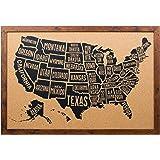 Amazoncom Easy Tiger Corkboard Maps Hand Lettered World Map - Corkboard us map
