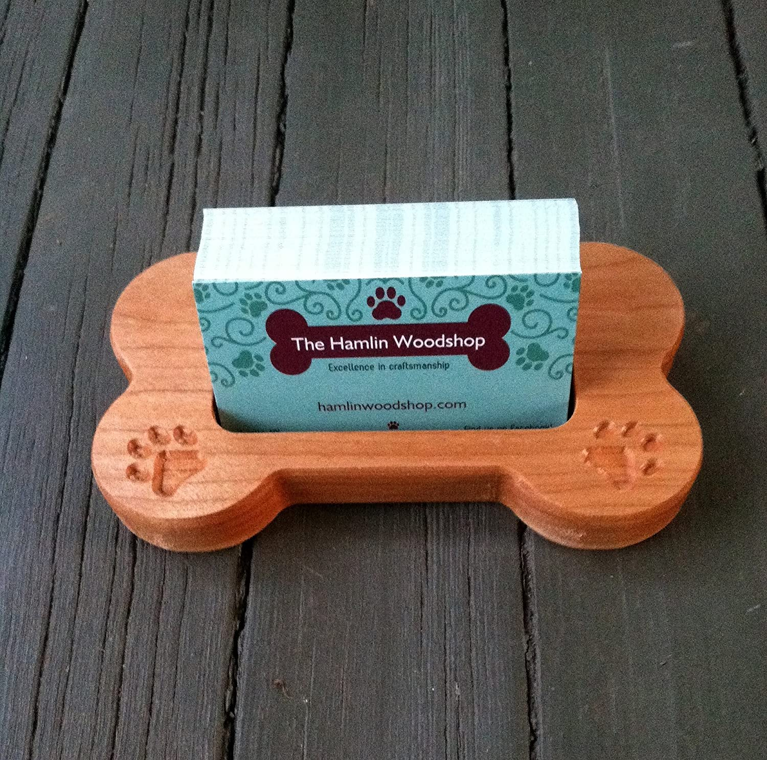 Business Card Holder, Carved Wood Dog Bone, Dog Card Holder, Pet Business Card Holder, Wood Dog Bone Shaped