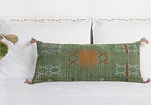 Green Cactus Silk Lumbar Pillow, Decorative Throw Pillow, Extra Long Lumber Pillow, Rustic Decor Linen Cushion, Handmade Pillow Cover 12x28