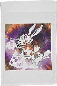3dRose fl_50554_1 Magical White Rabbit-Cartoon Characters-Alice in Wonderland Fun Garden Flag, 12 by 18-Inch