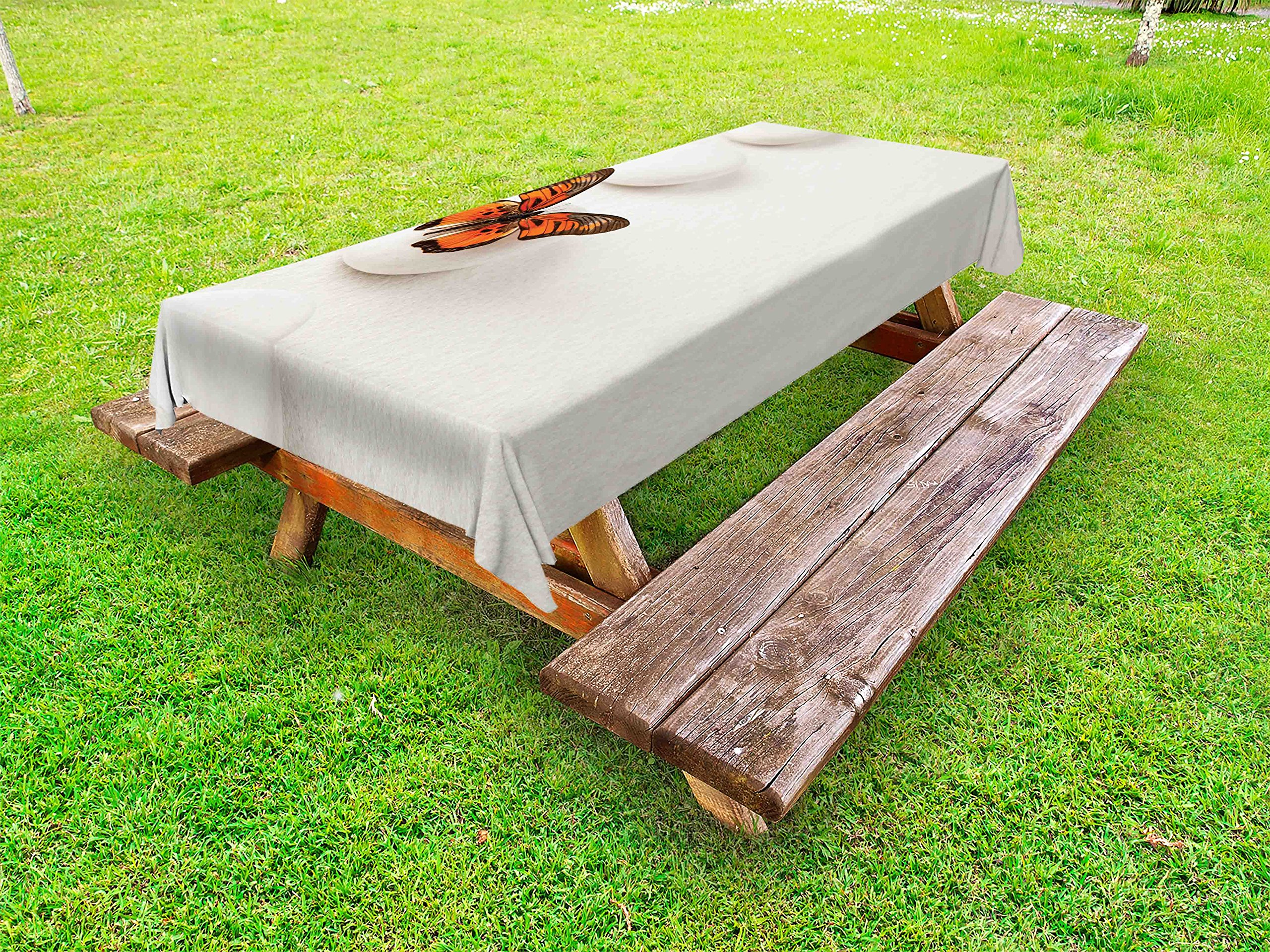 Ambesonne Spa Outdoor Tablecloth, Plain Pattern with Butterfly and Rocks Wellness Purity Healing Serenity Bohemian, Decorative Washable Picnic Table Cloth, 58 X 120 inches, White Orange