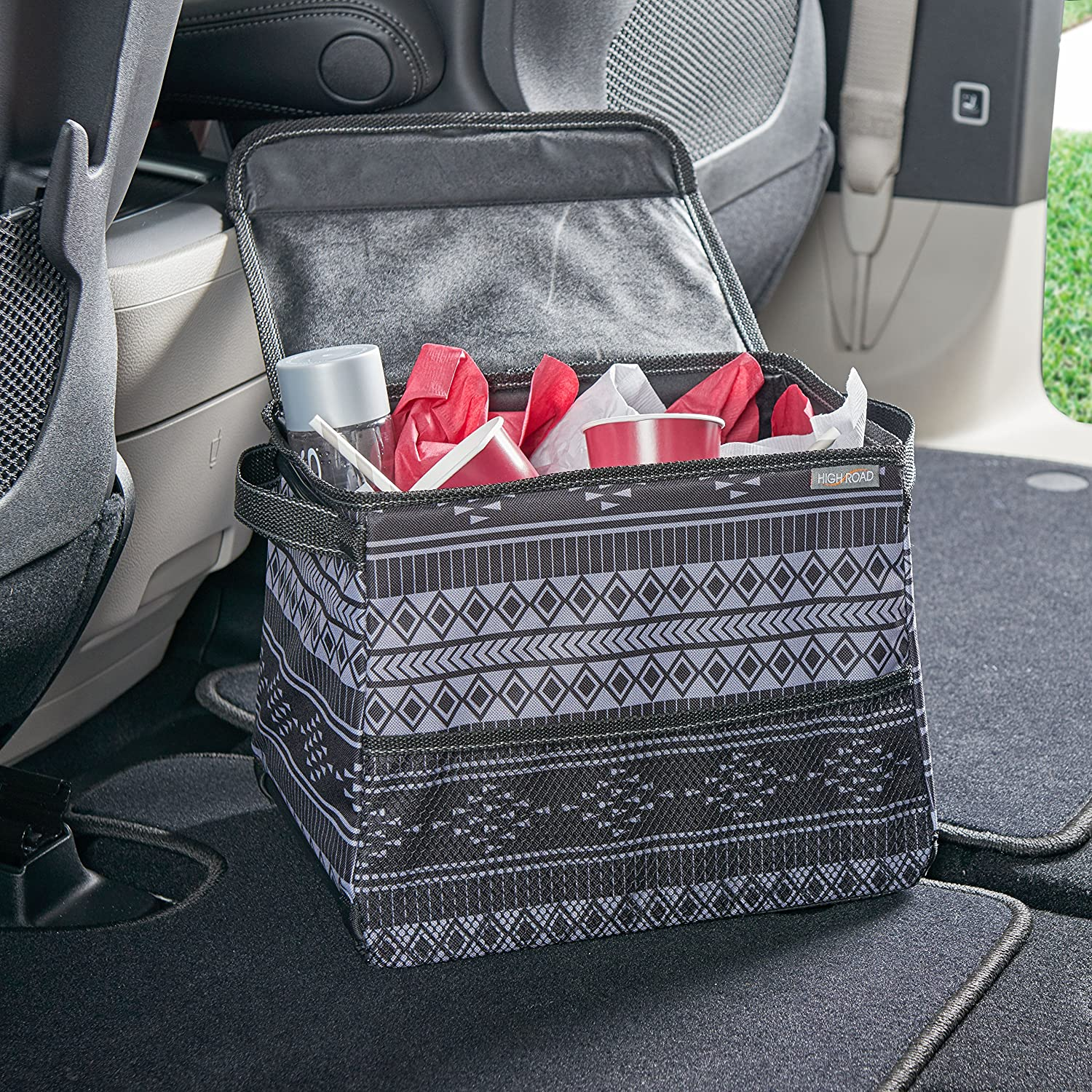 TALU2 High Road StableMate Large Covered Car Trash Can with Leakproof Lining Sahara Talus