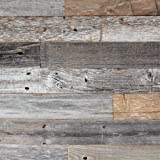 Reclaimed Barn Wood Wall Panel- Easy Peel and Stick Application (10 Sq Ft, Reclaimed Barn Wood)