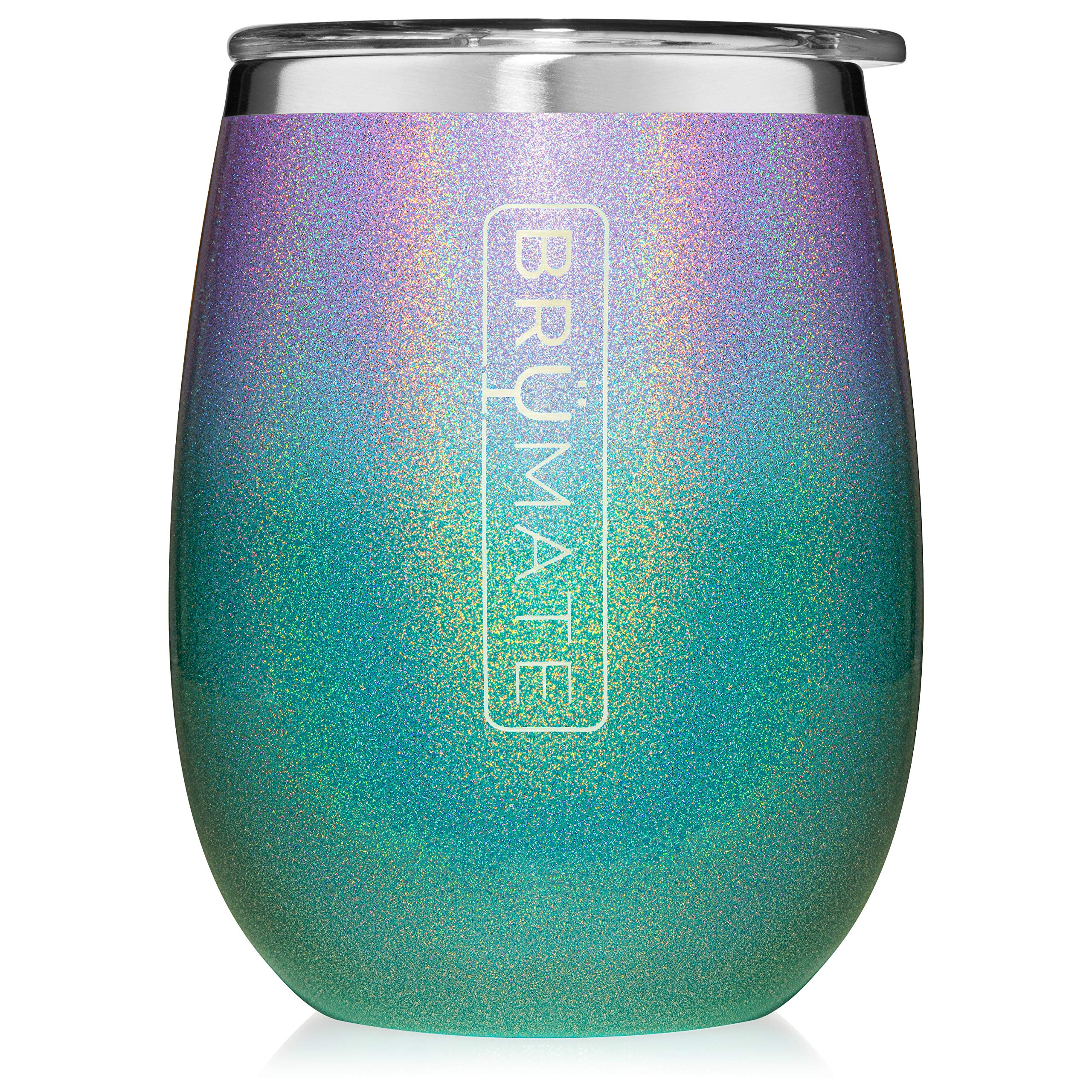 BrüMate Uncork'd XL 14oz Wine Glass Tumbler With Splash-proof Lid - Made With Vacuum Insulated Stainless Steel (Glitter Mermaid) by BrüMate