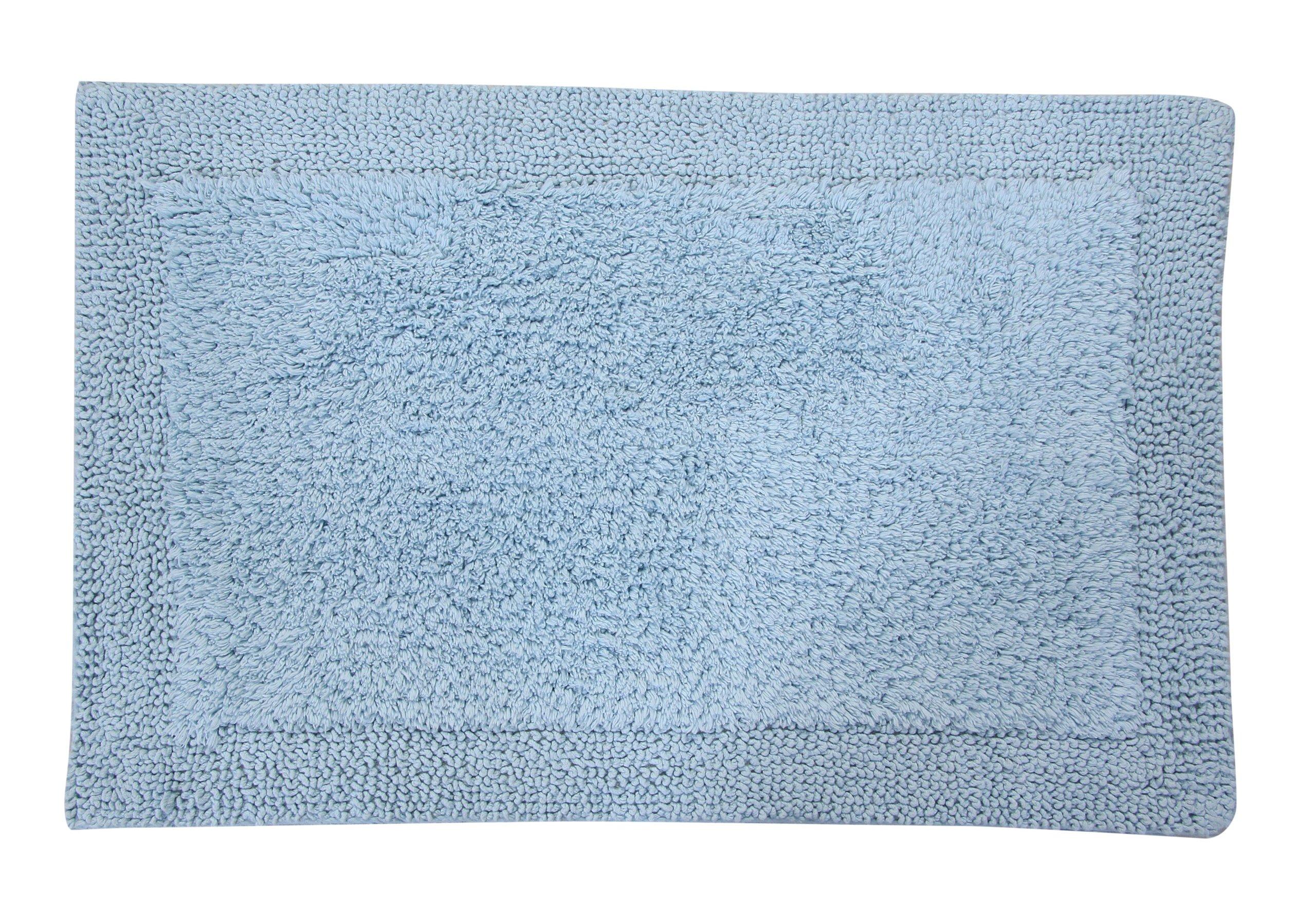 Castle Hill Bella Napoli 100% Cotton Reversible Bath Rug 20X30 Light Blue - Super soft absorbent bath rug Reversible bath mat Easy care machine washable - bathroom-linens, bathroom, bath-mats - A1DC2HnpDnL -