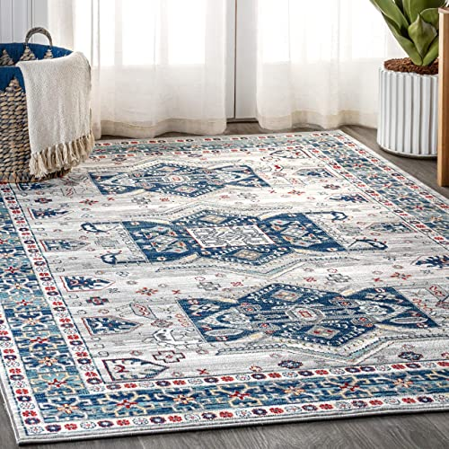 JONATHAN Y Modern Persian Vintage Moroccan Light Gray Blue 7 9 x 10 Runner Rug