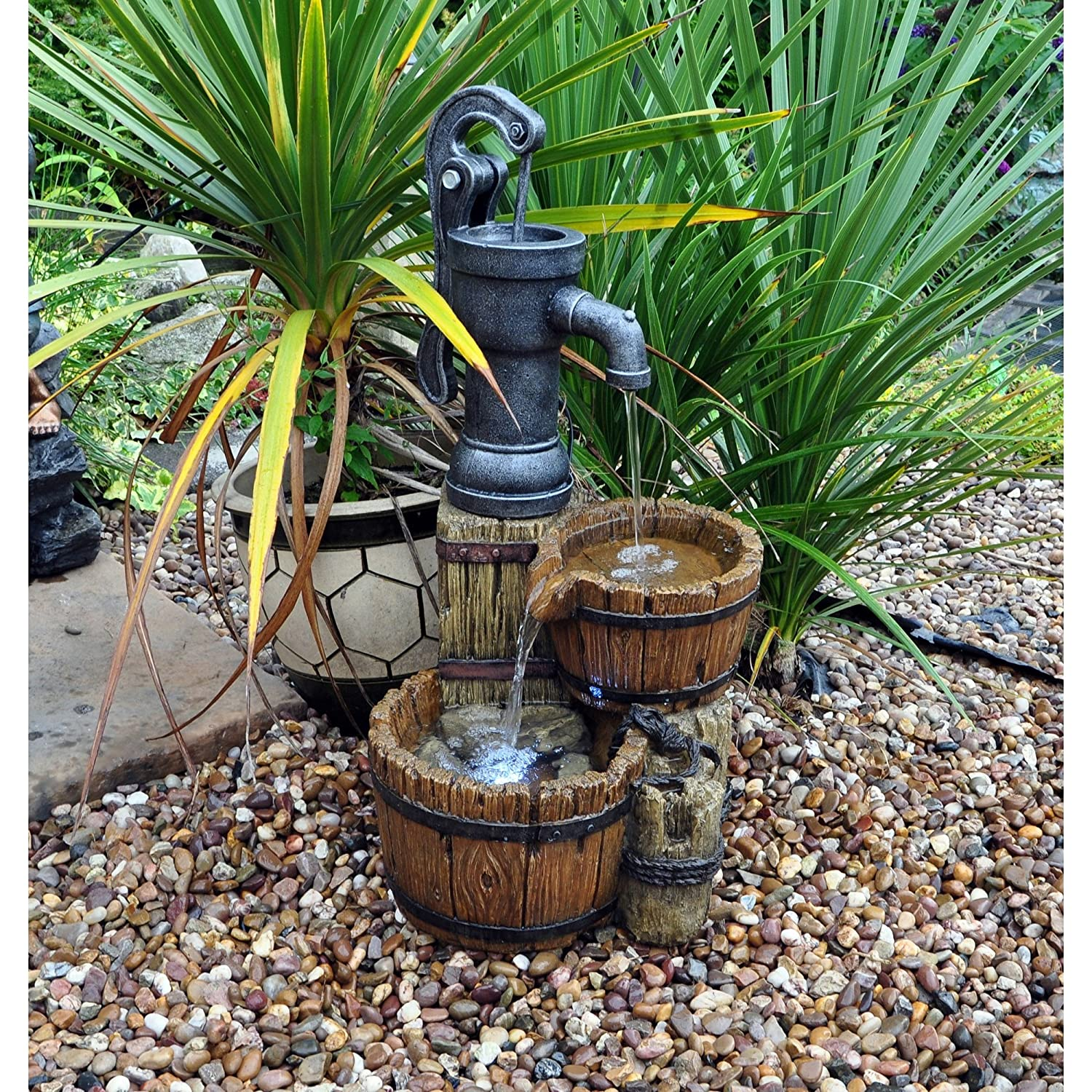 Kingfisher WF200 Twin Barrel and Hand Pump Garden Water Feature - Multi-Colour King Fisher