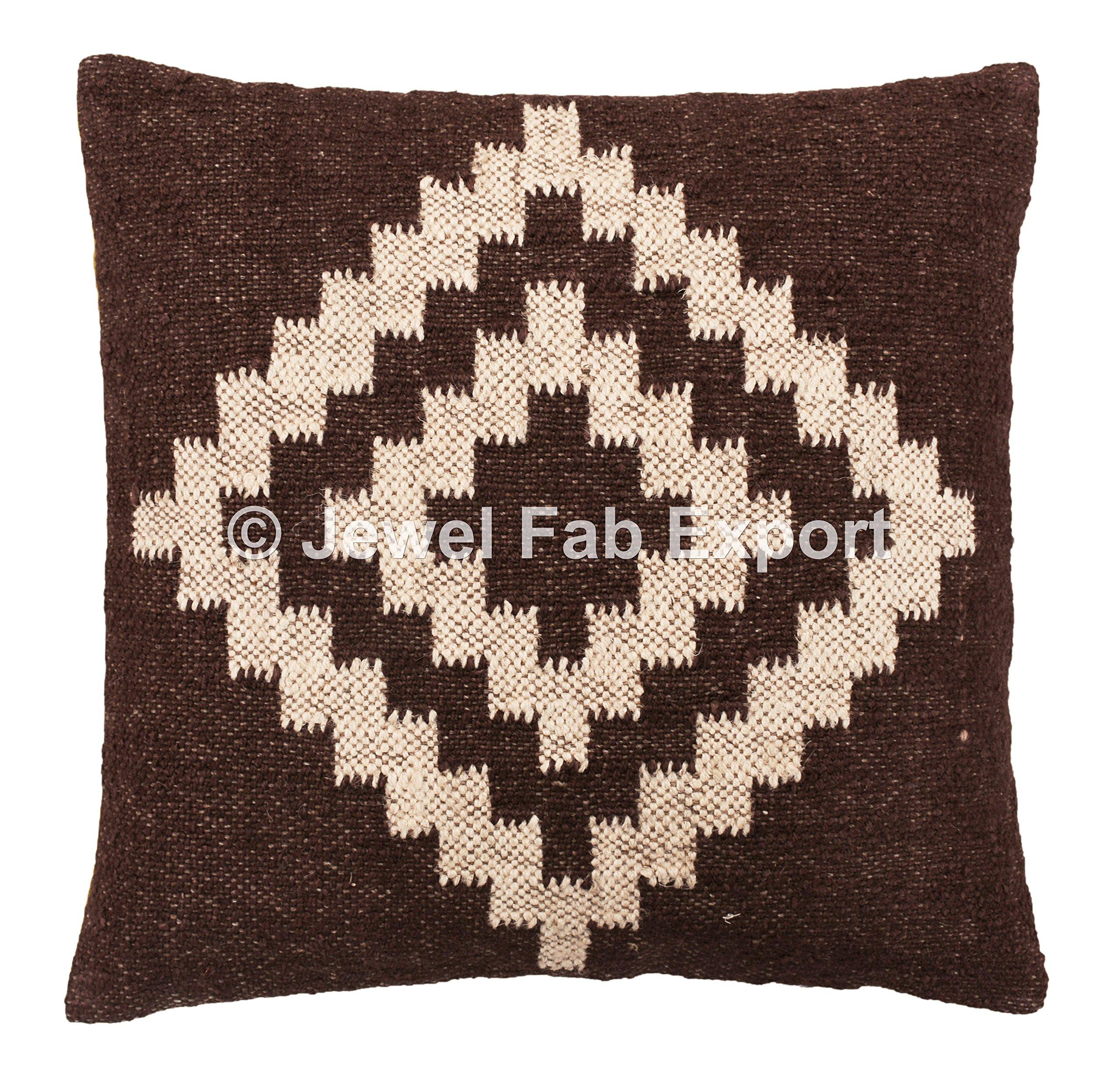 Indian Ethnic Set Of 5 Kilim Rug Floor Home Decor Kilim 18 x 18'' Vintage Oriental Ethnic Hippie Handwoven Kilim Pillow,Kilim Cushion Decorative Jute Pillow Sham , Handwoven Jute Rug Cushions