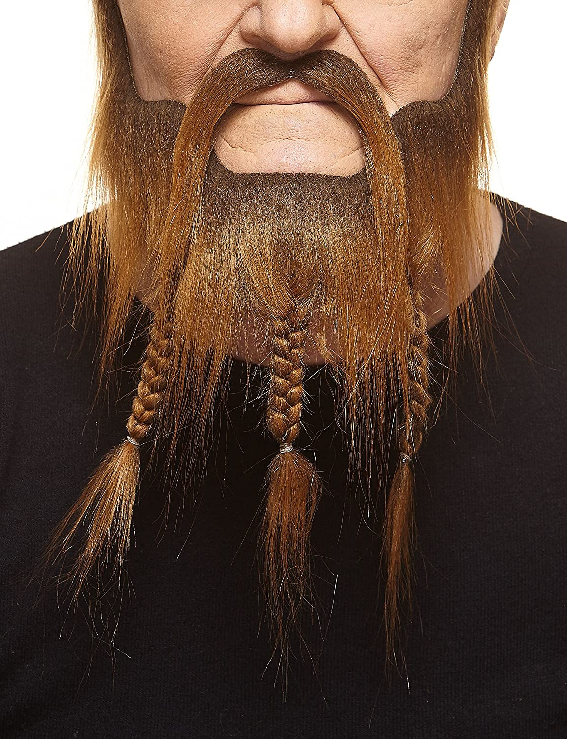 Mustaches Self Adhesive, Novelty, Braided, Fake Captain Beard Brown Color