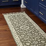 """Amazon Brand – Stone & Beam Barnstead Floral Wool Runner Rug, 2' 6"""" x 8', Charcoal and Beige"""