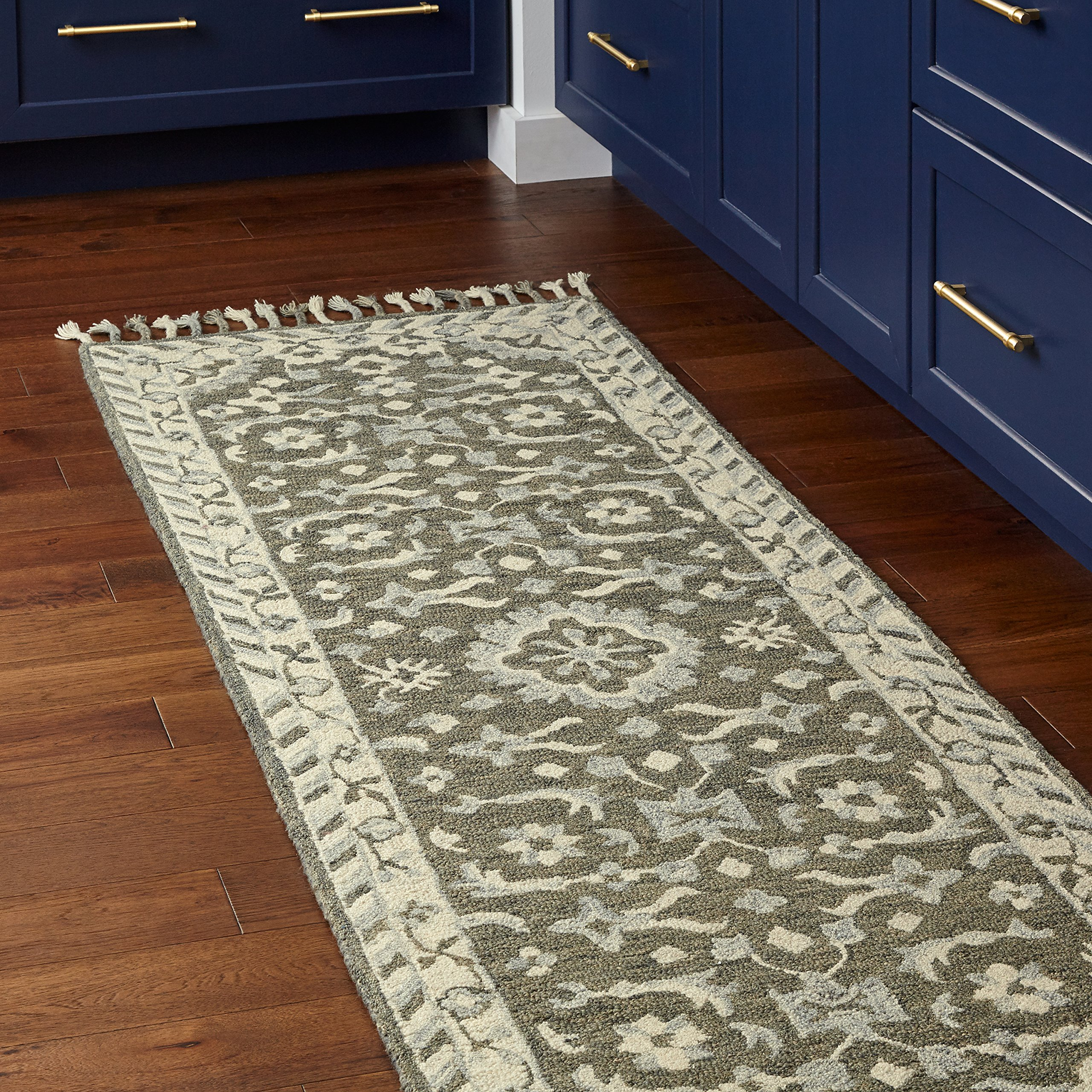 Stone & Beam Barnstead Floral Wool Runner Rug, 2' 6'' x 8', Charcoal and Beige by Stone & Beam