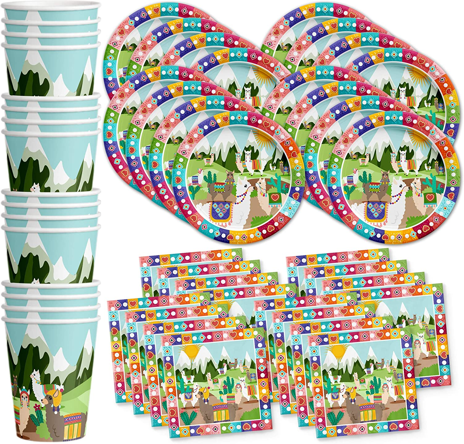 Llama Birthday Party Supplies Set Plates Napkins Cups Tableware Kit for 16