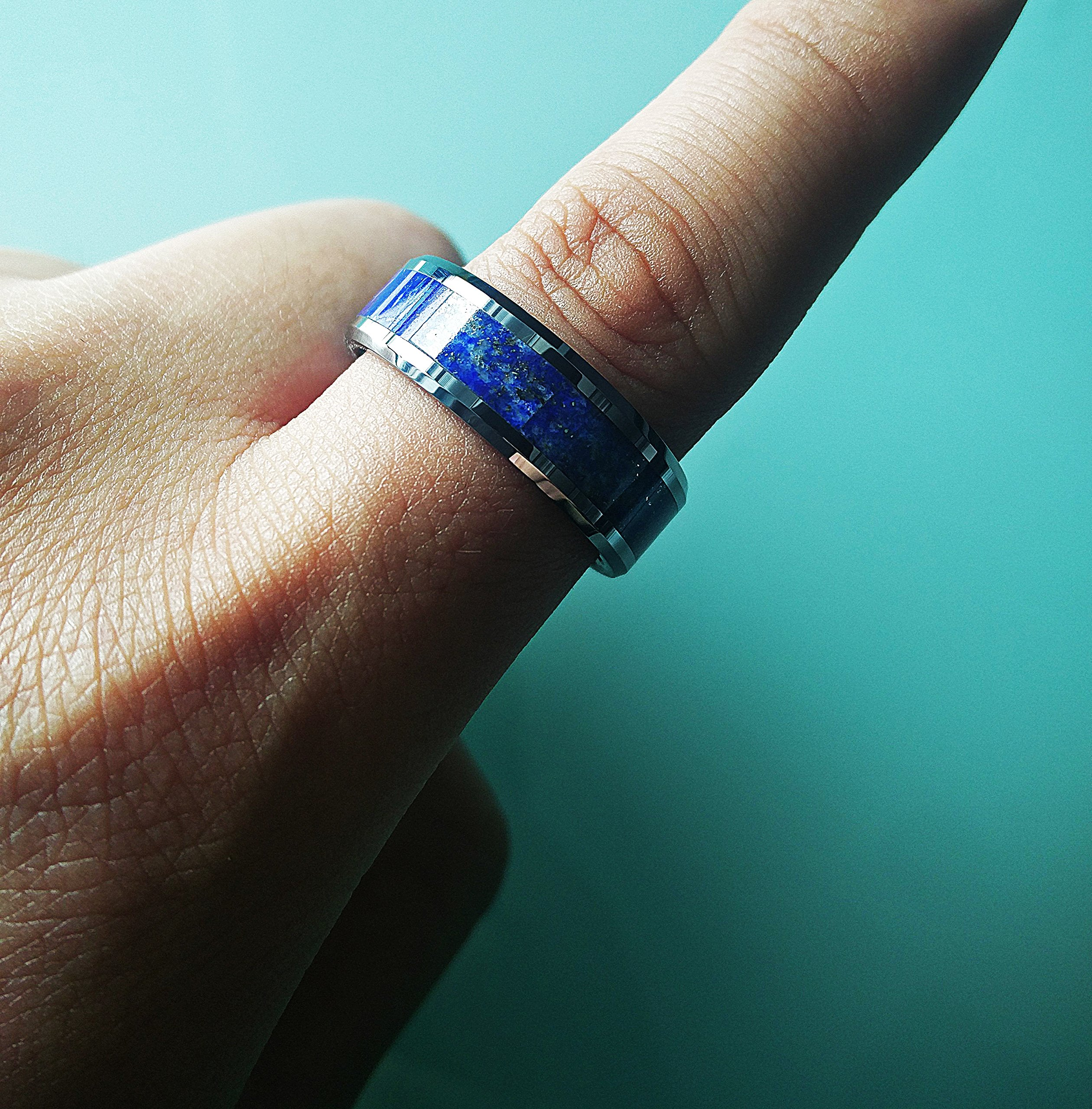 Blue Lapis Lazuli Stone Inlay Tungsten Ring with Polished Beveled Edges - 8mm Available - Lifetime Size Exchanges