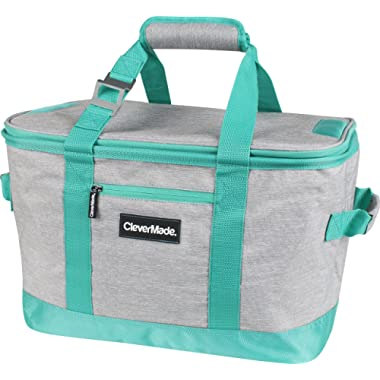 CleverMade SnapBasket 50 Can, Soft-Sided Collapsible Cooler: 30 Liter Insulated Tote Bag, Heathered Light Grey/Teal