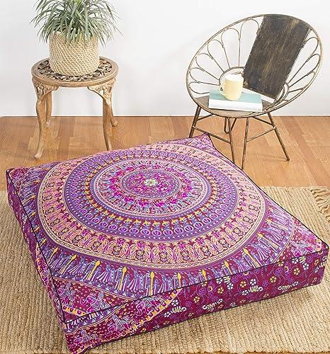 Dark Purple Pink Krati Exports Indian Floor Pillow Cushion Covers in Mandala Design