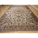Silk ivory rugs persian tabriz rug 7x10 living for Living room rugs 6x9